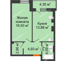 1 комнатная квартира 44,03 м² - ЖК Семейный