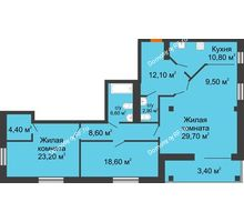 3 комнатная квартира 129,8 м², ЖК Art House - планировка
