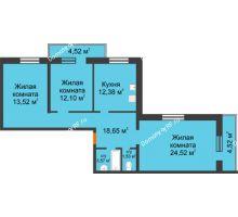 3 комнатная квартира 95,31 м², ЖК Дом на Троицкой - планировка