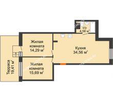 2 комнатная квартира 74,94 м², ЖК Шаляпин - планировка