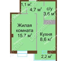 1 комнатная квартира 34,4 м², ЖК Каскад - планировка