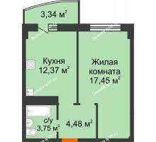 1 комнатная квартира 41,39 м² в ЖК Нива, дом №37 - планировка