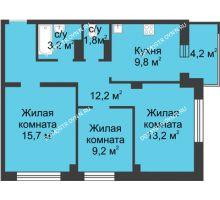 3 комнатная квартира 67,2 м² в ЖК Аквамарин, дом №2 - планировка