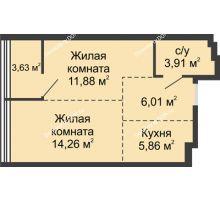 2 комнатная квартира 45,55 м², ЖК Белый Ангел - планировка