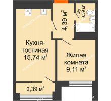 2 комнатная квартира 38,89 м², ЖК Каскад на Менделеева - планировка