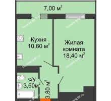 1 комнатная квартира 38,5 м² в ЖК Мелодия, дом Литер 1 - планировка