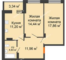 2 комнатная квартира 63,73 м², ЖК Галактика - планировка