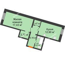 1 комнатная квартира 44,6 м², ЖК Советский - планировка