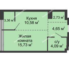 1 комнатная квартира 41,14 м², ЖК Белый Ангел - планировка