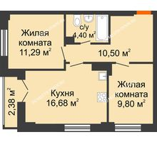 2 комнатная квартира 53,86 м², ЖК КМ Флагман - планировка