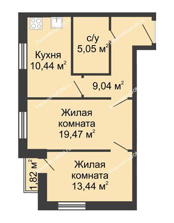 2 комнатная квартира 59,26 м² - ЖК Вдохновение