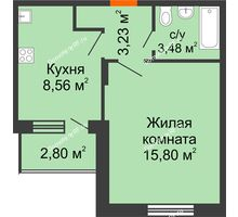 1 комнатная квартира 32,47 м², ЖК Розмарин - планировка