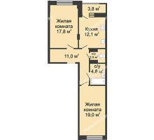 2 комнатная квартира 68,6 м² в ЖК Цветы, дом № 20 - планировка