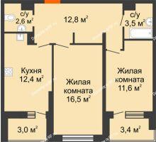 2 комнатная квартира 62,6 м² в ЖК Дружный 2, дом Литер 3.3 - планировка