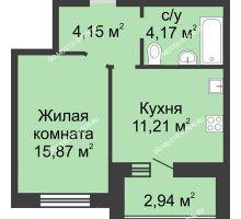 1 комнатная квартира 36,87 м² в ЖК Парк Горького, дом 62/3, № 5 - планировка