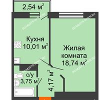 1 комнатная квартира 37,43 м², ЖК Зеленый берег Life - планировка