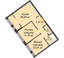 """2 комнатная квартира 56,41 м² в Микрорайон Звездный, дом ГП-1 (Дом """"Меркурий"""") - планировка"""