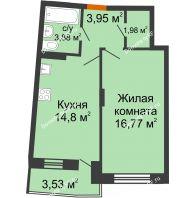 1 комнатная квартира 43,15 м² в ЖК Мандарин, дом 2 позиция 5-8 секция - планировка