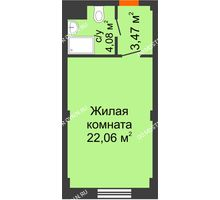 Студия 29,29 м², Апарт-Отель Гордеевка - планировка