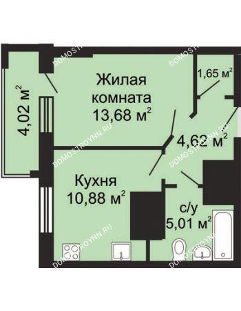 1 комнатная квартира 37,85 м² - ЖК Гелиос