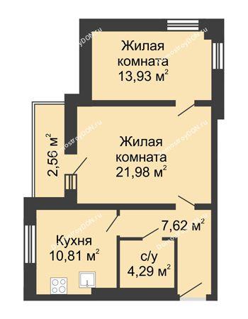 2 комнатная квартира 61,19 м² - ЖК Вдохновение