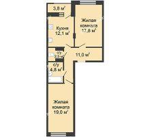 2 комнатная квартира 68,6 м² в ЖК Цветы, дом № 18 - планировка
