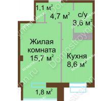 1 комнатная квартира 34,6 м², ЖК Каскад - планировка