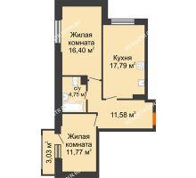 2 комнатная квартира 63,2 м², ЖК КМ Флагман - планировка
