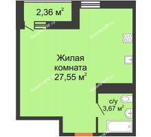 Студия 31,22 м² в ЖК Рекорд, дом 2 этап - планировка