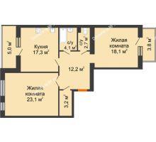 2 комнатная квартира 89,5 м² в ЖК Славутич, дом ГП-1 - планировка