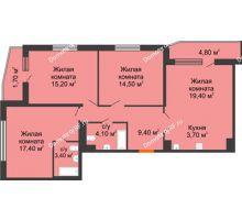 4 комнатная квартира 91,2 м², ЖК LIME (ЛАЙМ) - планировка