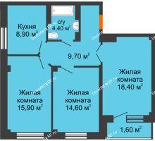 3 комнатная квартира 72,7 м², ЖК GEO (ГЕО) - планировка
