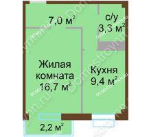 1 комнатная квартира 37,1 м², ЖК Каскад - планировка