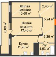 2 комнатная квартира 57,32 м² в ЖК Циолковский, дом № 6 - планировка