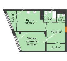 1 комнатная квартира 56,24 м² в ЖК Ренессанс, дом № 1 - планировка