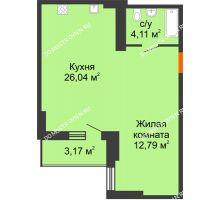 Студия 44,43 м², ЖК Орбита - планировка