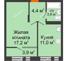 1 комнатная квартира 40,4 м² в ЖК Андерсен парк, дом ГП-2 - планировка