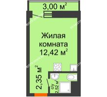 Студия 17,29 м² в ЖК Корабли, дом № 9-2 - планировка