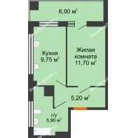 1 комнатная квартира 34,4 м² в ЖК Грин Парк, дом Литер 2 - планировка