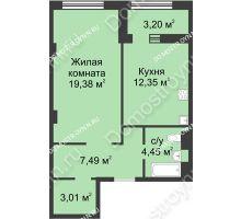 1 комнатная квартира 48,28 м² в ЖК Караваиха, дом № 5