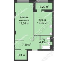 1 комнатная квартира 48,28 м² в ЖК Караваиха, дом № 5 - планировка