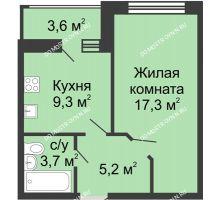 1 комнатная квартира 37,3 м² в ЖК Цветы, дом № 11 - планировка