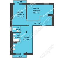 3 комнатная квартира 81,26 м² в ЖК Тридесятое, дом № 23 - планировка