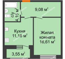 1 комнатная квартира 44,57 м² в ЖК Подкова на Гагарина, дом № 2