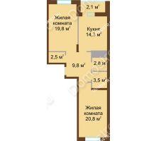 2 комнатная квартира 75,6 м² в ЖК Монолит, дом № 89, корп. 1, 2 - планировка
