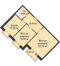 2 комнатная квартира 60,7 м², Жилой дом: г. Дзержинск, ул. Кирова, д.12 - планировка