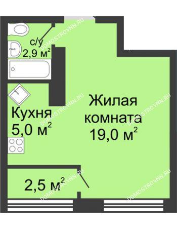 Студия 29,4 м² в ЖК Цветы, дом № 10
