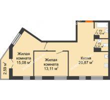 2 комнатная квартира 63,06 м² - ЖК Пушкин