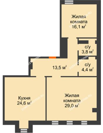 2 комнатная квартира 91,4 м² - Жилой дом: ул. Варварская