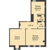 2 комнатная квартира 91,4 м², Жилой дом: ул. Варварская - планировка